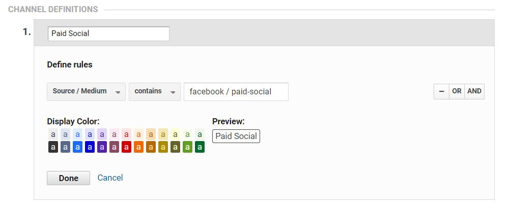 Screenshot showing user defined channel grouping setting in Google Analytics