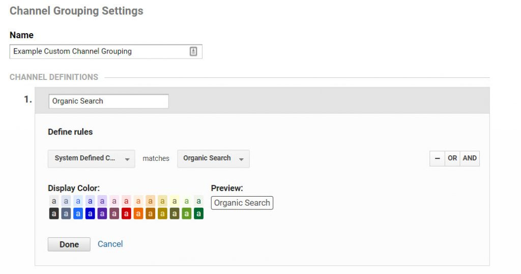 Screenshot showing system defined channel grouping setting in Google Analytics