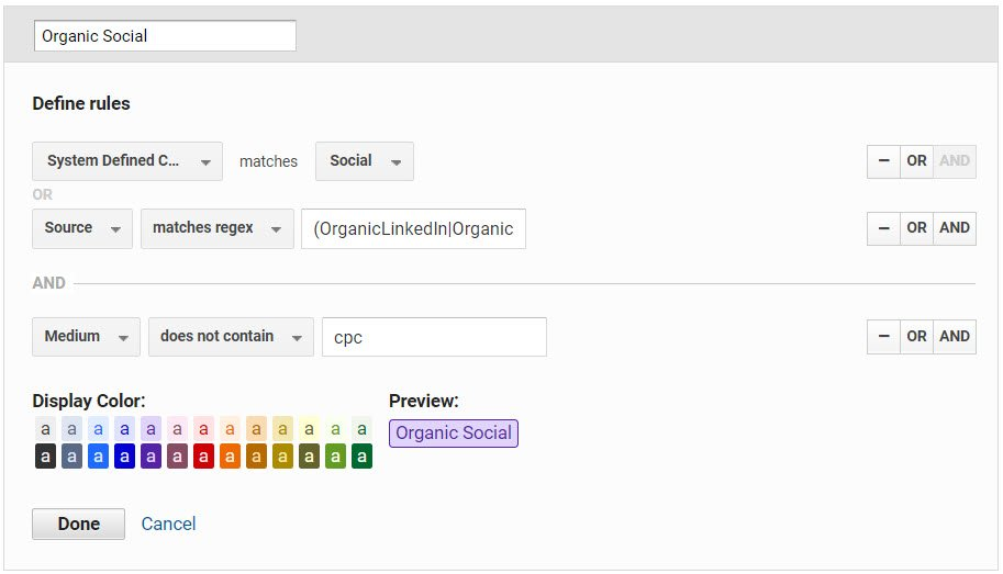 Screenshot showing system and user defined channel grouping setting in Google Analytics