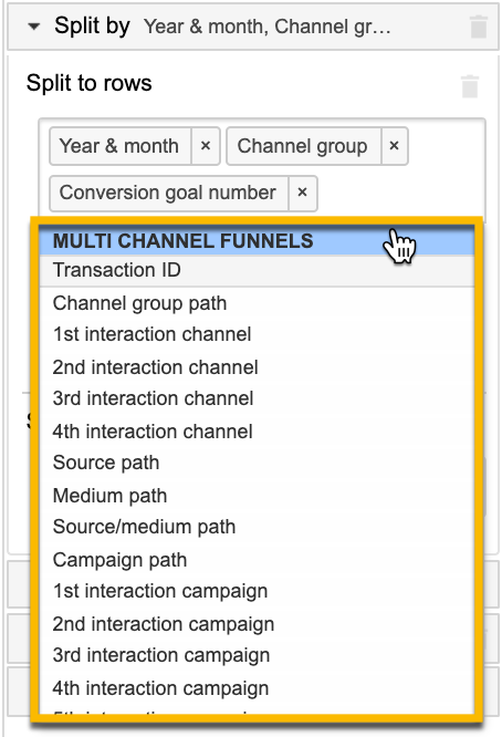 In this screenshot from GA you can see some of the MCF dimension options available are: channel group path, 1st through 4th interaction channel, source path, medium path, source/medium path, campaign path, and 1st through 4th interaction campaign.