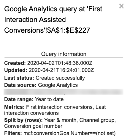 This screenshot shows the query set up with date range: YTD, metrics: First interaction conversions, last interaction conversions, Split by (rows): Year and Month, Channel group, Conversion goal number, and Filters: mcf:conversionGoalNumber==(not set).
