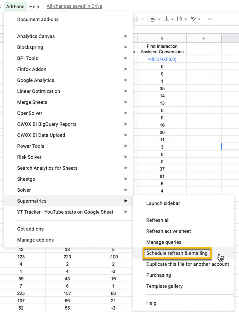 In Google Sheets, find Supermetrics in the Add-ons drop-down and select Schedule refresh & emailing.