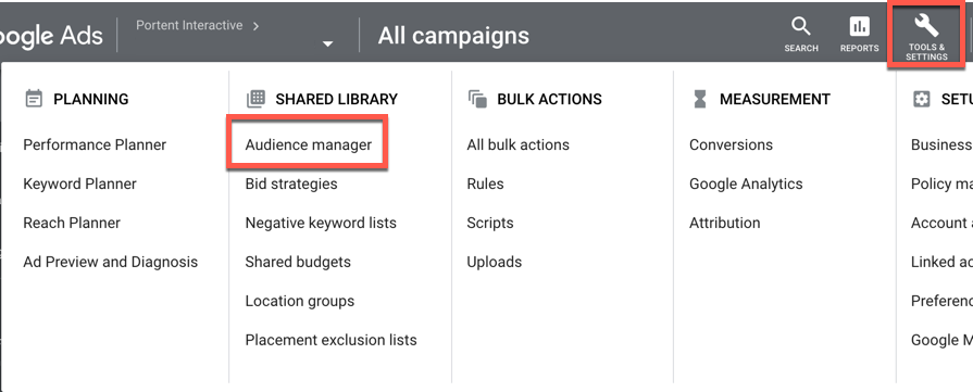 You can find Tools & Settings in the top right corner of your Google Ads dashboard. Audience manager is under the Shared Library column.