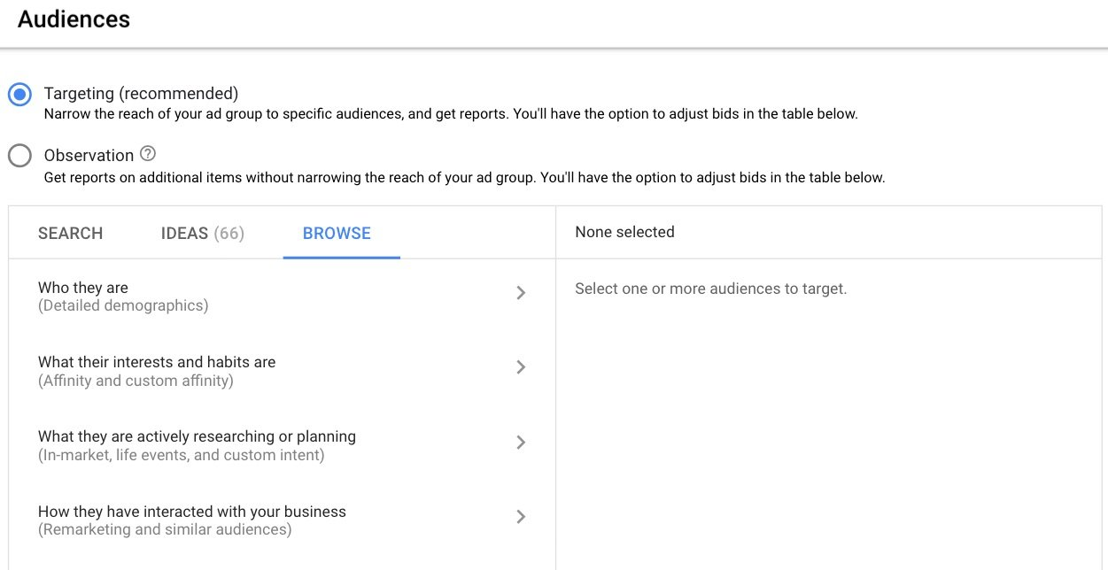 Google Ads gives you an audience targeting abilities, with options for demographics, interests/habits, activity, and remarketing.