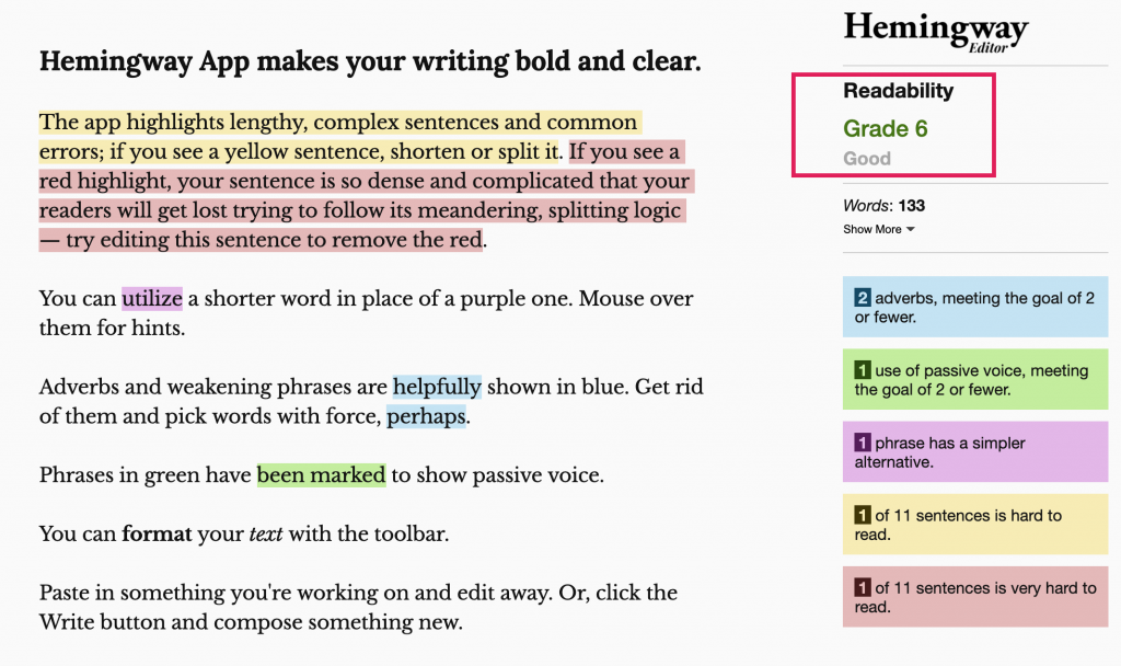 The app highlights words and phrases in your text that may be difficult to read and suggests ways to improve readability.