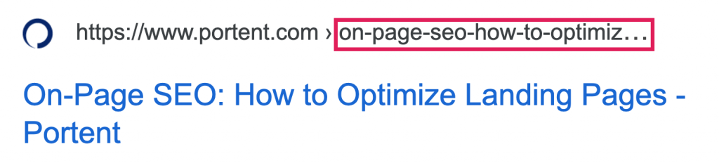 Because the blog post title is too long, all that shows up in the SERP is https://www.portent.com>on-page-seo-how-to-optimiz...
