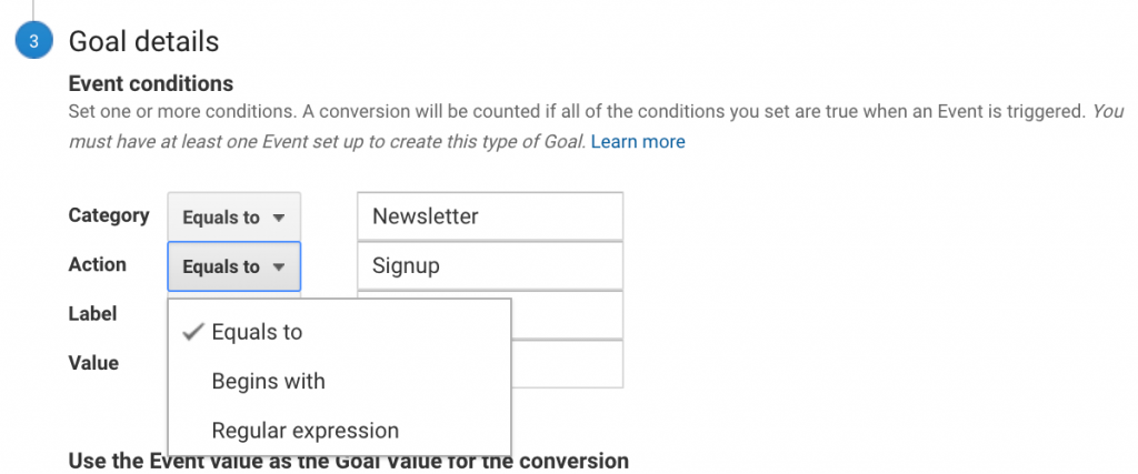 """Goal detail criteria can be set to """"equals to,"""" """"begins with,"""" or """"regular expression."""""""