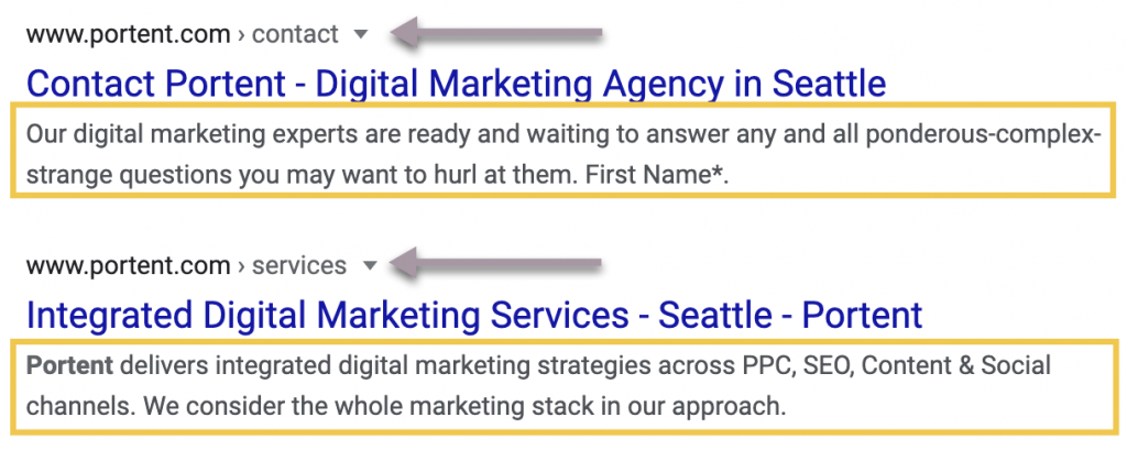 "The contact page description reads: ""Our digital marketing experts are ready and waiting to answer any and all ponderous-complex-strange questions you may want to hurl at them."" The services page description reads: ""Portent delivers integrated digital marketing strategies across PPC, SEO, Content & Social channels. We consider the whole marketing stack in our approach."""
