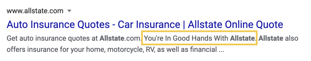 "Allstate's meta description features their slogan ""You're In Good Hands With Allstate."""