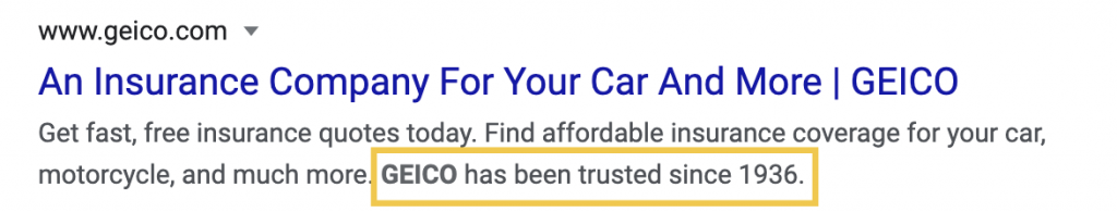 "GEICO's meta description includes the statement ""GEICO has been trusted since 1936."""