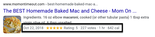 This SERP entry features rich snippets, including the publish date, star rating, number of votes, how long the recipe takes to make, and how many calories in a serving.