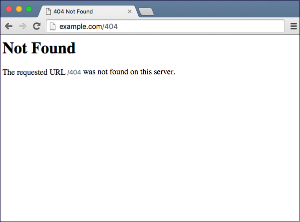 "In this generic 404 error example, the copy simply reads that ""the requested URL was not found on this server."""