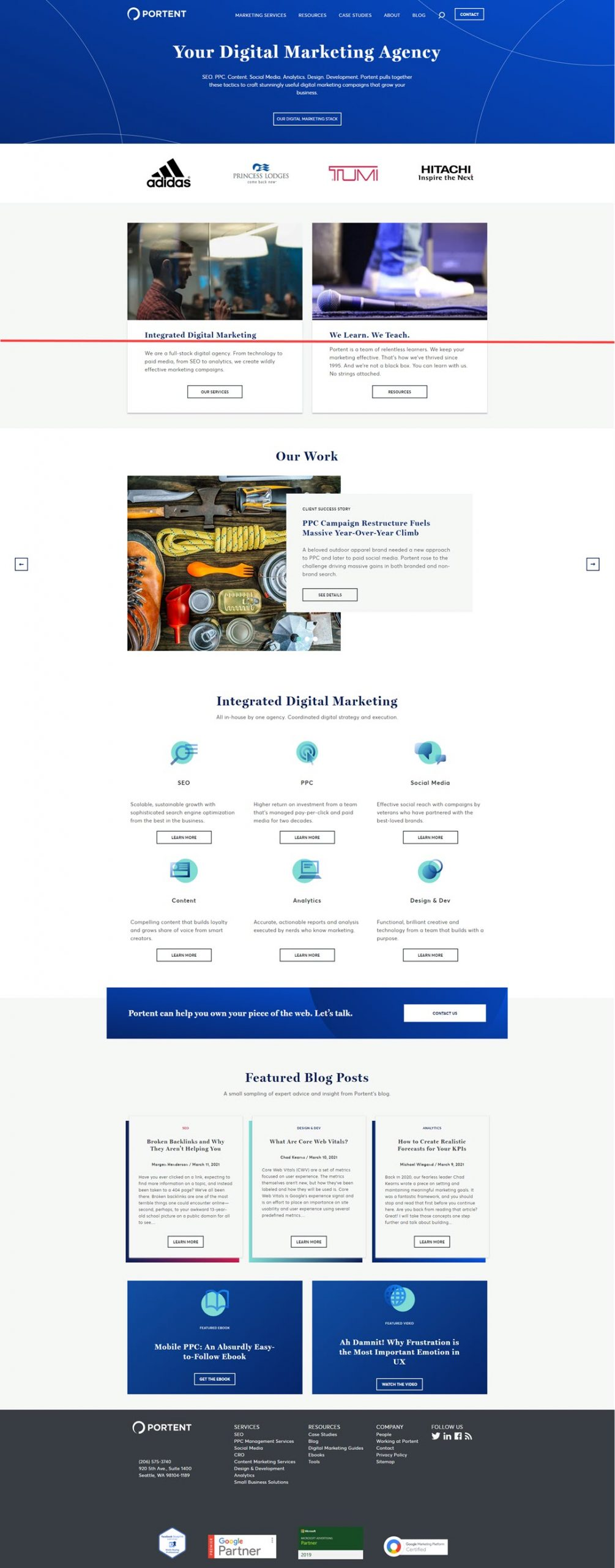 Portent.com above the fold content example