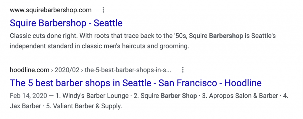 SERP shows a list of the 5 best barber shops in Seattle as a competing link.