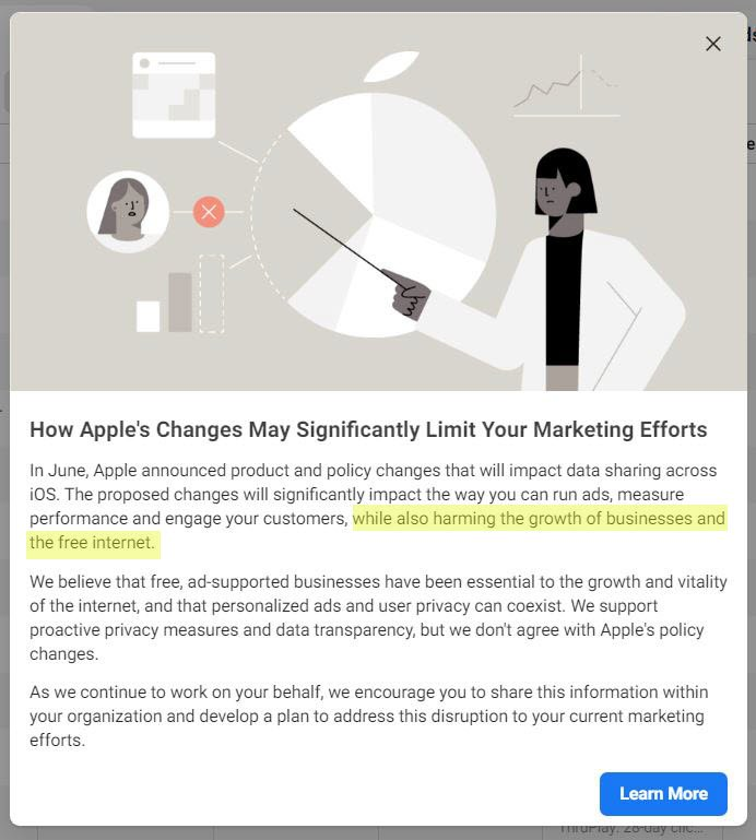 "In a message to advertisers, Facebook stated that the iOS 14 updates will ""harm the growth of businesses and the free internet."""
