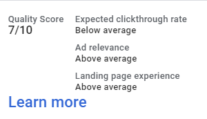 An example of a 7/10 QS may also have below average click through rate, but above average ad relevance, and landing page experience.